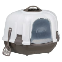 Trixie Maro Corner Cat Litter Tray with Hood in Taupe/Granite