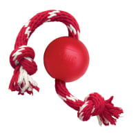 Kong Classic Red Ball with Rope Dog Toy