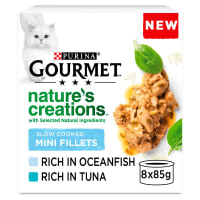 Gourmet Natures Creation Slow Cooked Mini Fillets Wet Cat Food Oceanfish & Tuna 8 x 85g