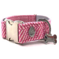 Hugo & Hudson Herringbone Dog Collar in Pink