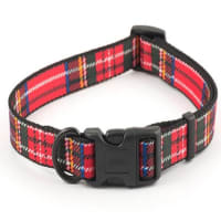 Ancol Nylon Tartan Adjust Collar in Red