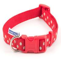 Ancol Vintage Polka Dot Raspberry Adjustable Collar in Red