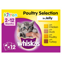 WHISKAS 2-12 Months Kitten Pouches Poultry Selection in Jelly