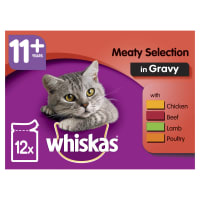 WHISKAS 11+ Cat Pouches Meaty Selection in Gravy