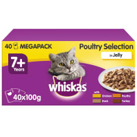 WHISKAS 7+ Cat Pouches Poultry Selection in Jelly 40x100g Mega Pack