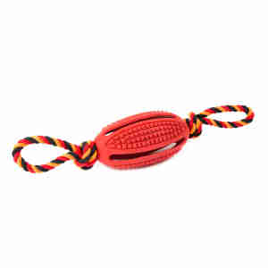 Kokoba Dog Chew Toy - Rugby Ball with Rope