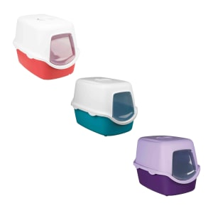 Trixie Vico Cat Litter Tray with Dome in Red/White