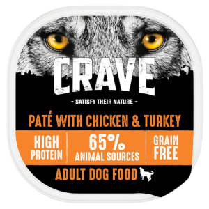 Crave Grain Free Adult Wet Dog Food Tray - Turkey & Chicken in Loaf