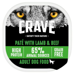 Crave Natural Grain Free Adult Wet Dog Food Tray - Lamb & Beef in Loaf