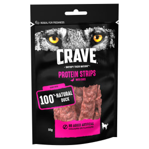 Crave Protein Strips Natural Adult Dog Treat - Duck