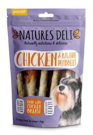 Natures Deli Rawhide Dumbbell Adult Dog Treats - Chicken