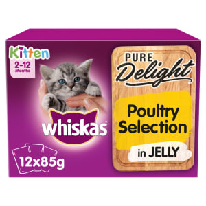 Whiskas Pure Delight Kitten 2-12months Wet Cat Food Pouches - Poultry Selection in Jelly