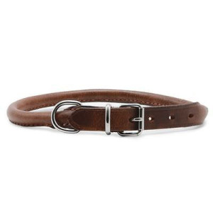 Ancol Round Sewn Leather Collar Tan