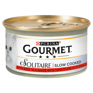 Gourmet Solitaire Tinned Cat Food With Beef 85g
