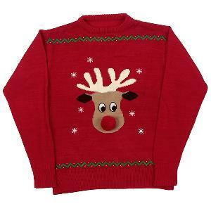 Animate Human Red Reindeer Pom Pom Nose Crew Neck Jumper