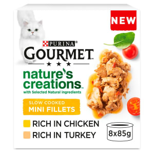Gourmet Natures Creation Slow Cooked Mini Fillets Wet Cat Food Chicken & Turkey  8 x 85g