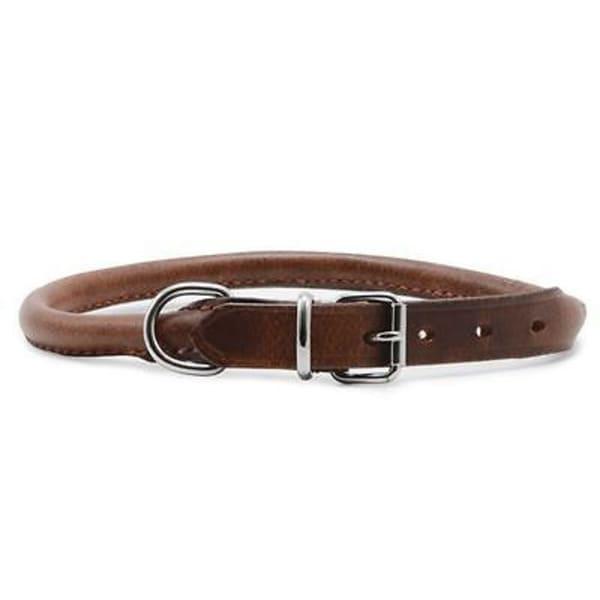 Ancol Heritage Leather Round Sewn Collar in Tan