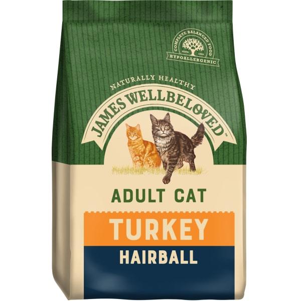James Wellbeloved Complete Adult Hairball Dry Cat Food - Turkey