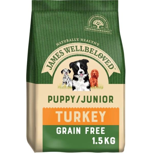 James Wellbeloved Grain Free Medium Puppy/Junior Dry Dog Food - Turkey & Vegetables