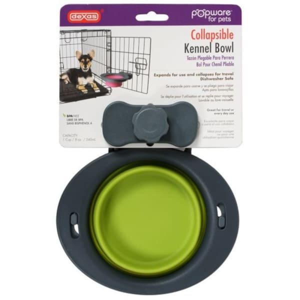 Dexas Popware Collapsible Kennel Dog Bowl in Green