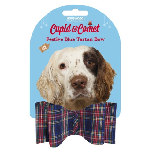 Blue Tartan Bow For Large Dogs
