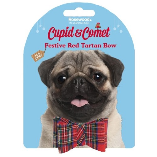 Red Tartan Bow For Cats, Small & Medium Dogs
